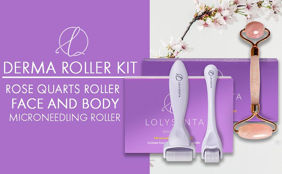 derma rollers face body rose quartz roller