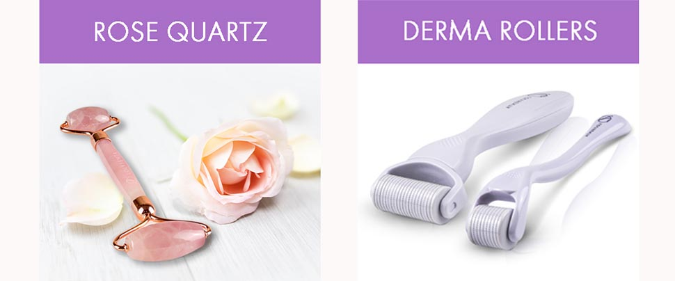 face body derma rollers rose quartz facial roller